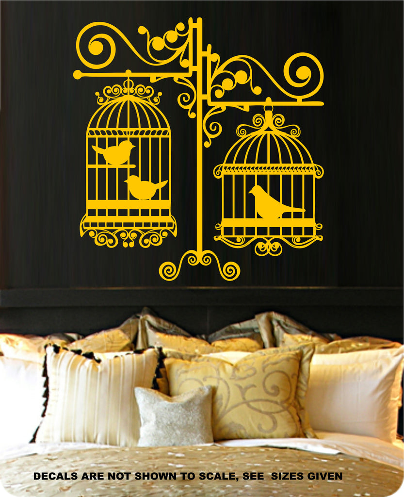 ORNATE DOUBLE BIRD CAGES SILHOUETTE WALL ART STICKER VINYL DECAL ...