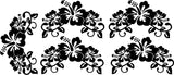 Tropical Hibiscus Flowers Set of 5 Wall Art Stickers Vinyl Decals