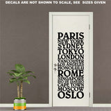 Cities of the World Wall Art Sticker Vinyl Decal Various Sizes