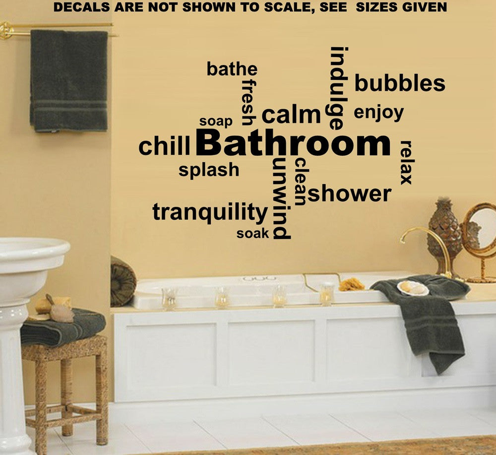 Bathroom Inspirational Words Wall Art Stickers Vinyl Decal Various ...