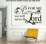 Joshua 24:15 As For Me And My House We Will Serve The Lord Bible Verse Quote Wall Art Sticker Vinyl Decal Various Sizes V1