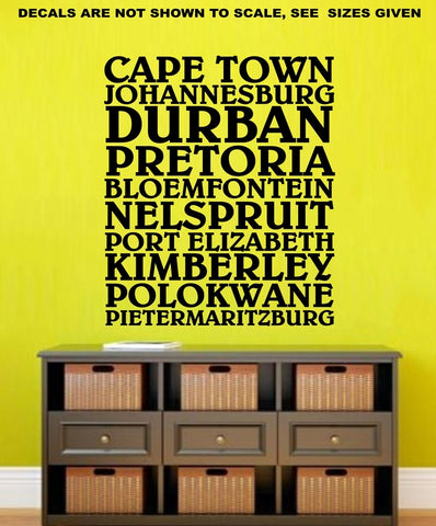 Sale cities of south africa wall art sticker vinyl decal various sizes