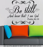 Psalm 46:10 Be Still And Know I Am God Bible Quotation Wall Art Sticker Vinyl Decal Various Sizes