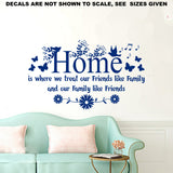 Home, Friends and Family Quotation Wall Art Sticker Vinyl Decal