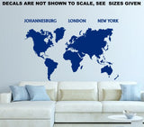 World Map Silhouette Wall Art Sticker Vinyl Decal Various Sizes