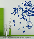 Branch with Leaves & Birdcage Wall Art Sticker Vinyl Decal Various Sizes