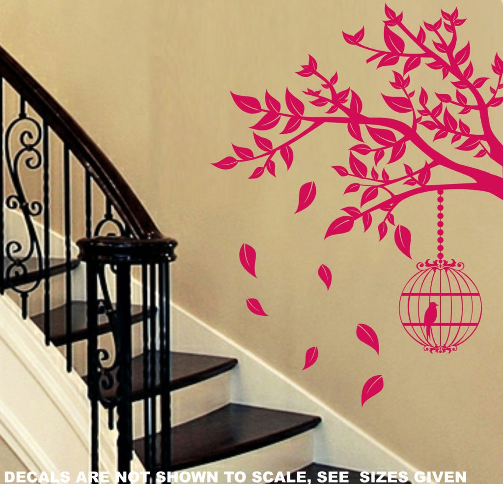 Branch with Leaves & Birdcage Wall Art Sticker Vinyl Decal Various ...