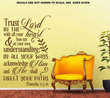 Trust In The Lord Proverbs 3:5-6 Quotation Vertical Wall Art Sticker Vinyl Decal Various Sizes