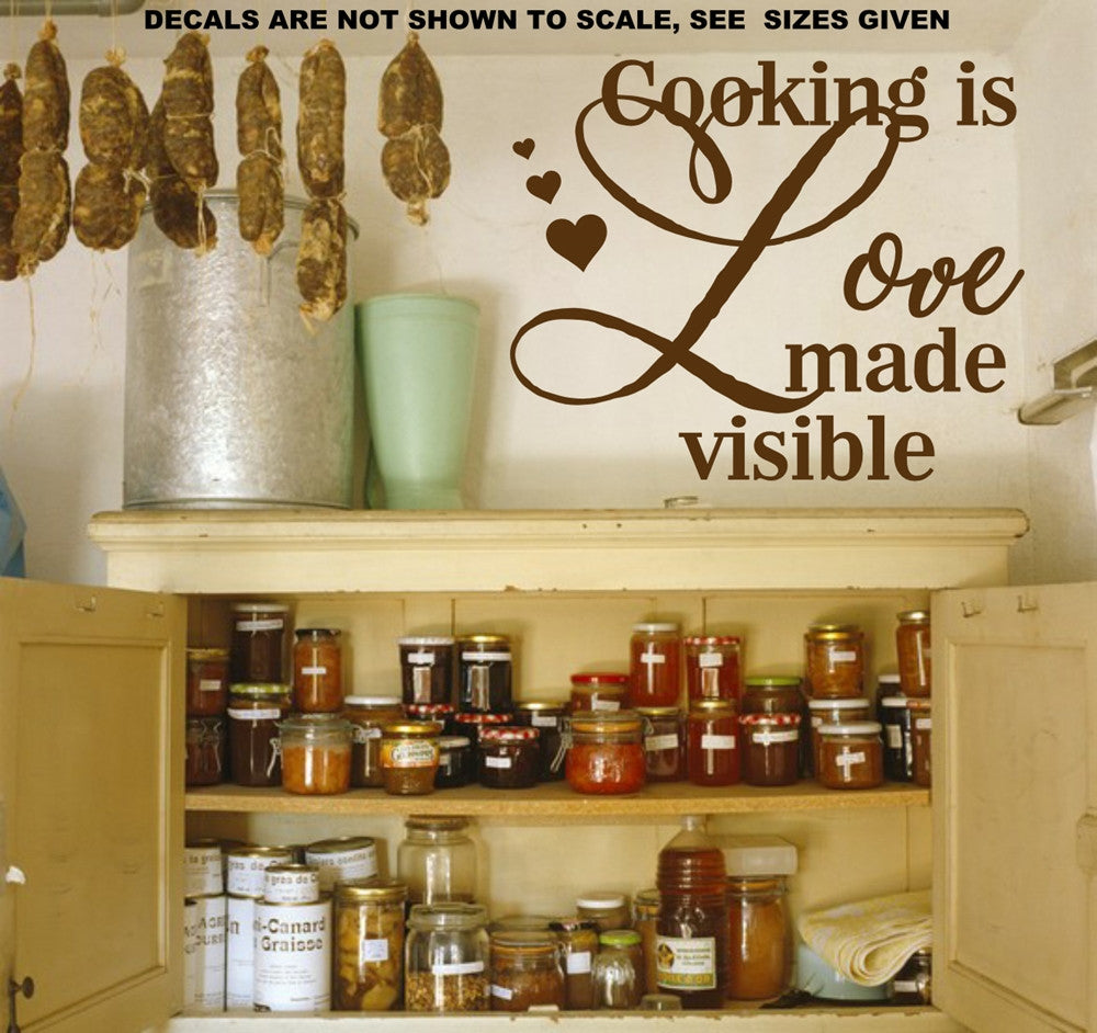 Cooking Is Love Made Visible Wall Art Sticker Vinyl Decal Various ...