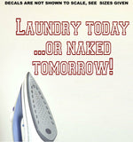 Laundry Today or Naked Tomorrow Quotation Wall Art Sticker Vinyl Decal Various Sizes
