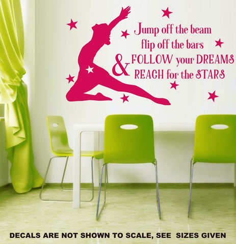 Follow Your Dreams Gymnastics Wall Art Sticker Vinyl Decal Various Sizes