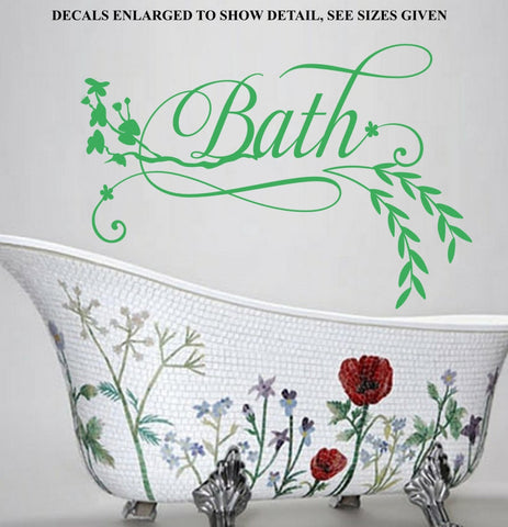 Floral Bath With Leaves Quote Wall Art Sticker Vinyl Decal Various Sizes