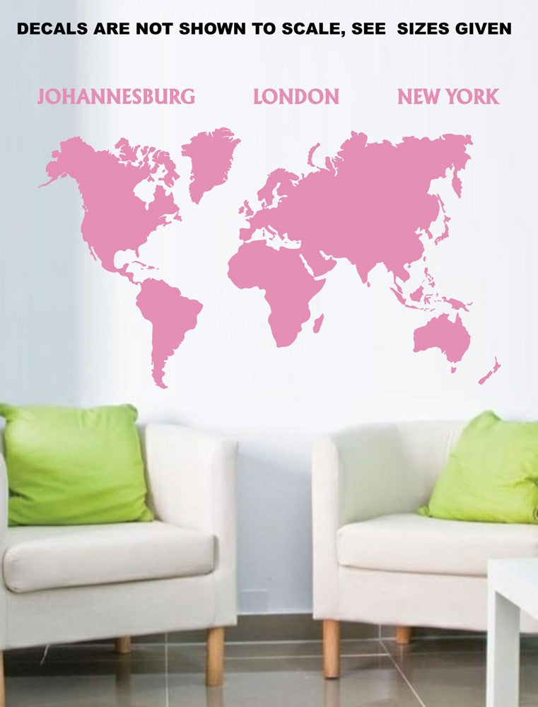 World map silhouette wall art sticker vinyl decal various sizes world map silhouette wall art sticker vinyl decal various sizes gumiabroncs Images