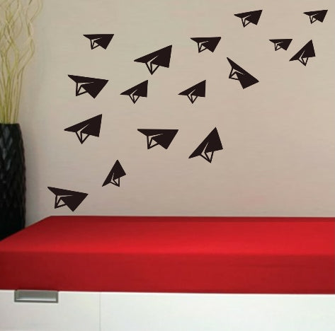 Paper-Style Airplanes Set of 15 Wall Art Stickers Vinyl Decals