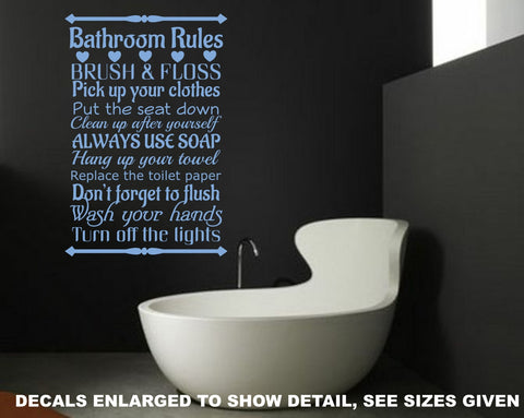 Bathroom Rules Quotation Wall Art Sticker Vinyl Decals Various Sizes