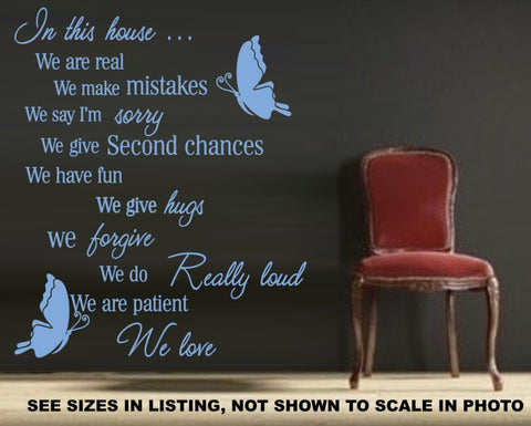 IN THIS HOUSE INSPIRATIONAL QUOTATION STICKER VINYL DECAL VARIOUS SIZES