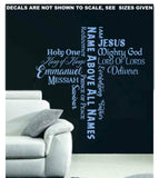 Names of God Cross Quotation Wall Art Sticker Vinyl Decal Various Sizes