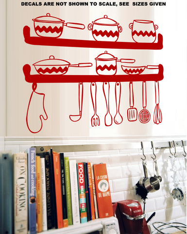 Kitchen Utensils Wall Art Stickers Vinyl Decal Various Sizes