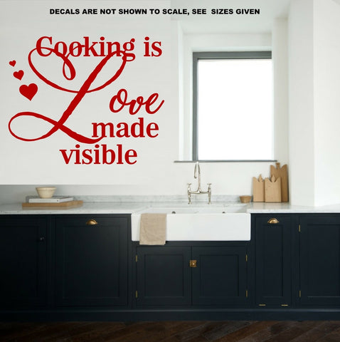 Cooking Is Love Made Visible Wall Art Sticker Vinyl Decal Various sizes