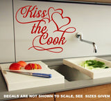 Kiss The Cook Kitchen Quote Wall Art Sticker Vinyl Decal Various Sizes