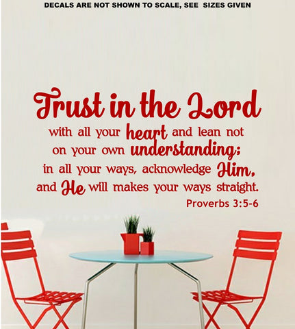 Trust In The Lord Proverbs 3:5-6 Bible Quotation Horizontal Wall Art Sticker Vinyl Decal Various Sizes