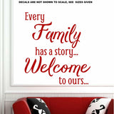 Every Family Has A Story Quote Wall Art Sticker Vinyl Decal Various Sizes