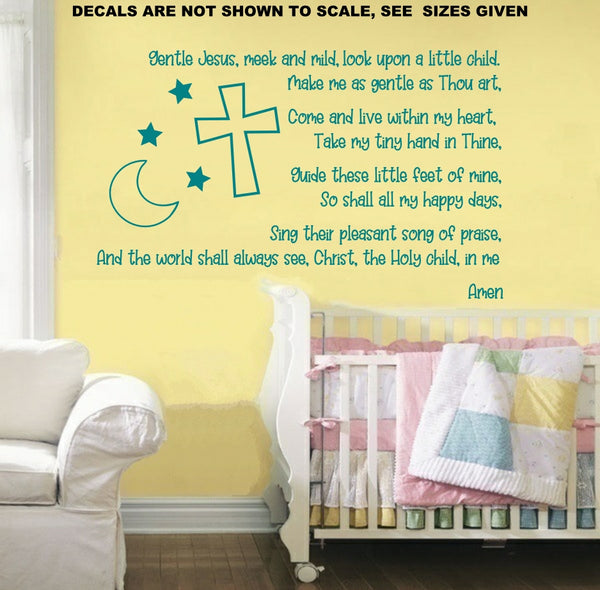 Gentle Jesus Meek and Mild Children's Prayer Quotation Wall Art Sticker Vinyl Decal Various Sizes