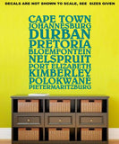 Cities of South Africa Wall Art Sticker Vinyl Decal Various Sizes