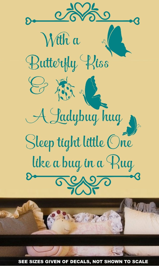 Butterfly Kisses and Ladybug Hugs Quote Wall Art Sticker Vinyl Decal ...