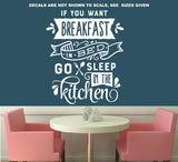 Breakfast In Bed Kitchen Wall Art Sticker Vinyl Decal Various Sizes