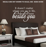 Beside You Inspirational Quotation Wall Art Sticker Vinyl Decal Various Sizes