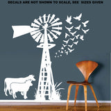 Windmill With Birds and Cows Wall Art Stickers Vinyl Decal Various Sizes