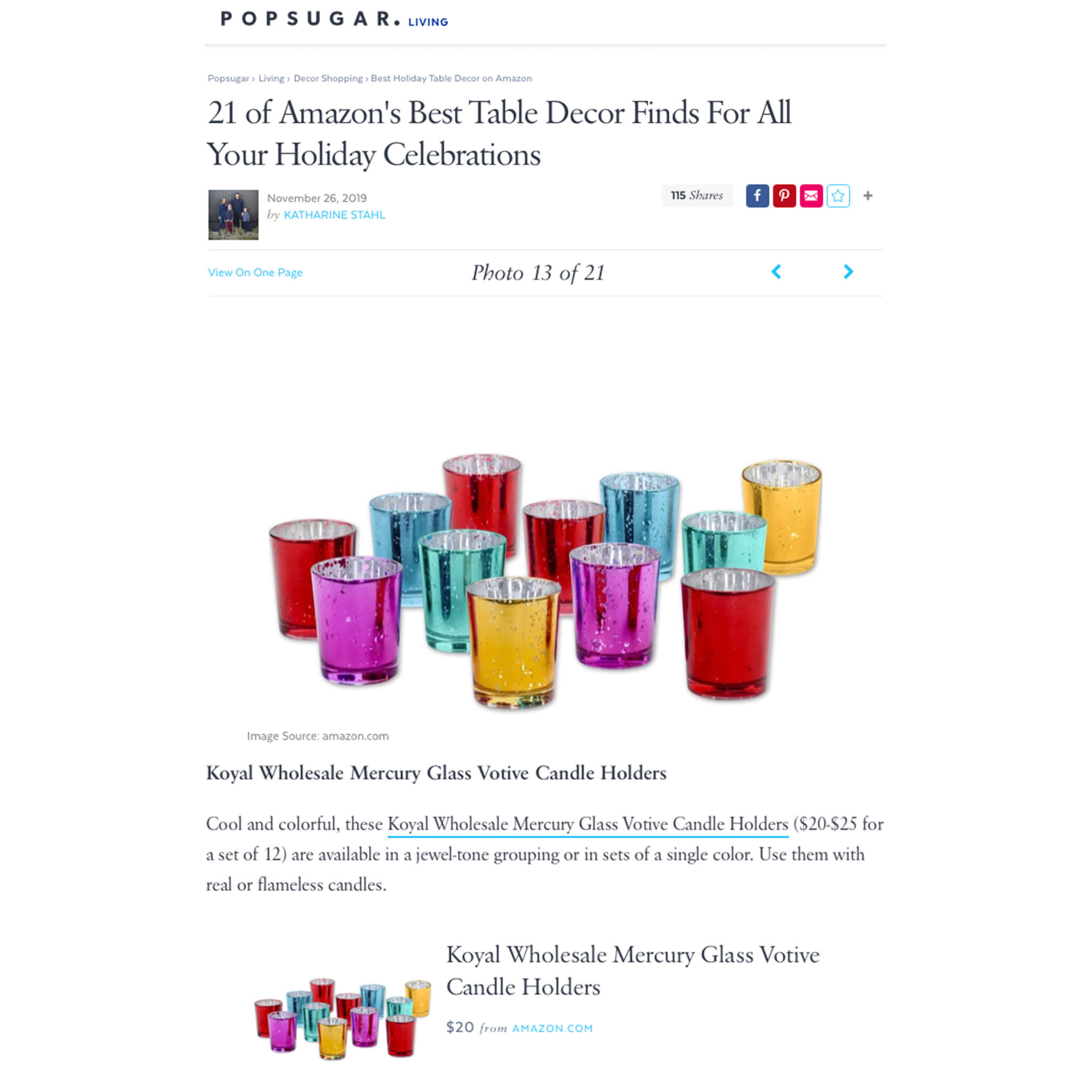 Jewel Tone Votive Candle Holders