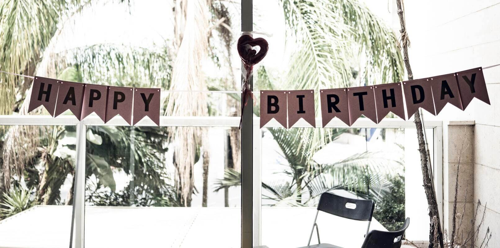 A happy birthday banner at a party