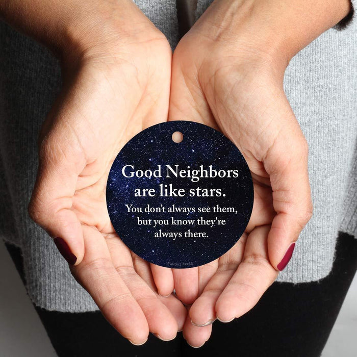 Andaz Press Metal Christmas Ornament, Good Neighbors are Like Stars, You Don't Always See Them, But You Know They're Always There, Purple Blue Galaxy-Set of 1-Andaz Press-Good Neighbors are Like Stars You Don't Always See Them But You Know They're Always There Purple Blue Galaxy-