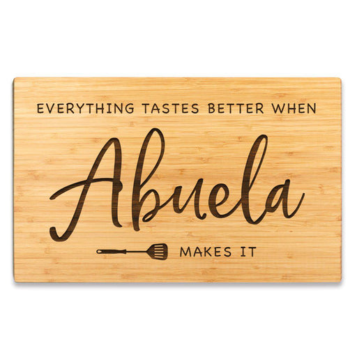 Large Bamboo Wood BBQ Cutting Board Gift, Everything Tastes Better-Set of 1-Andaz Press-Abuela-