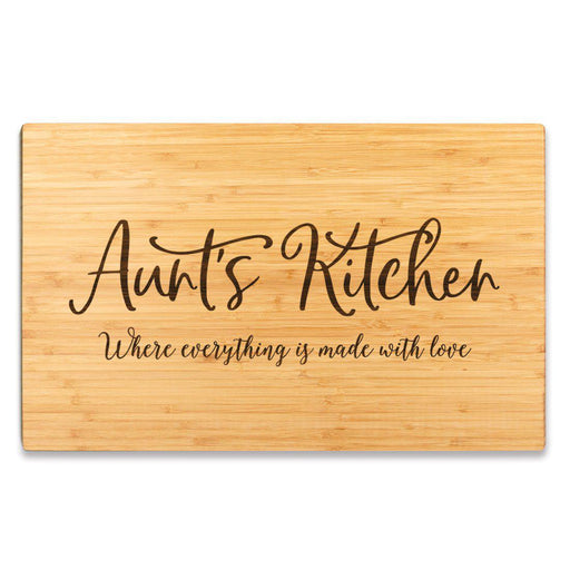 Large Bamboo Wood Cutting Board Gift, Where Everything is Made With Love-Set of 1-Andaz Press-Aunt-