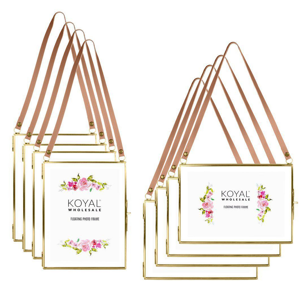 "Pressed Glass Hanging Floating Photo Frames-Set of 8-Koyal Wholesale-Gold-5"" x 7""-"