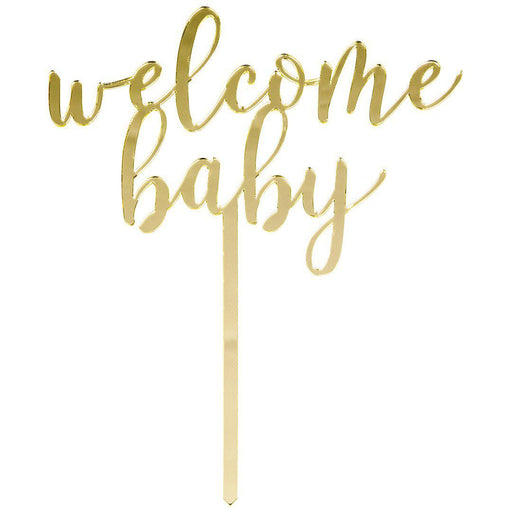 Welcome Baby Mirror Acrylic Cake Toppers-Set of 1-Andaz Press-Gold-