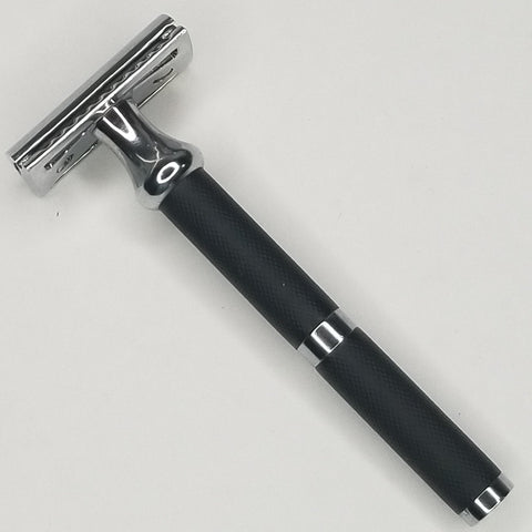 Black + Stainless Steel Double Edge Safety Razor