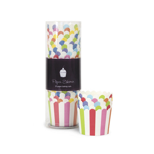 Baking Cups Rainbow Stripes - Paper Eskimo