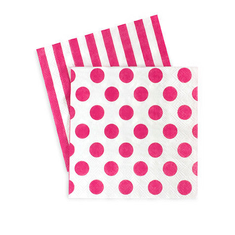 Cocktail Napkin Pop Pink 20pcs - Paper Eskimo