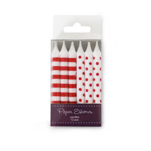 Birthday Candles Red Candy 12pcs - Paper Eskimo