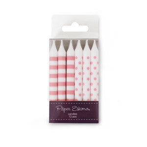Birthday Candles Pink Floss 12pcs - Paper Eskimo