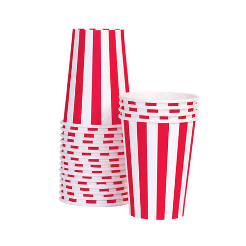 Paper Cups Candy Cane Red 12pcs - Paper Eskimo