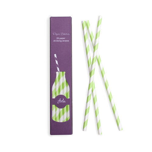 Paper Straws Apple Green 24pk - Paper Eskimo