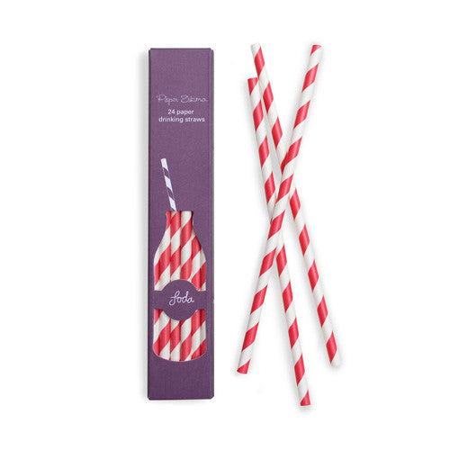 Paper Straws Candy Cane Red 24pk - Paper Eskimo