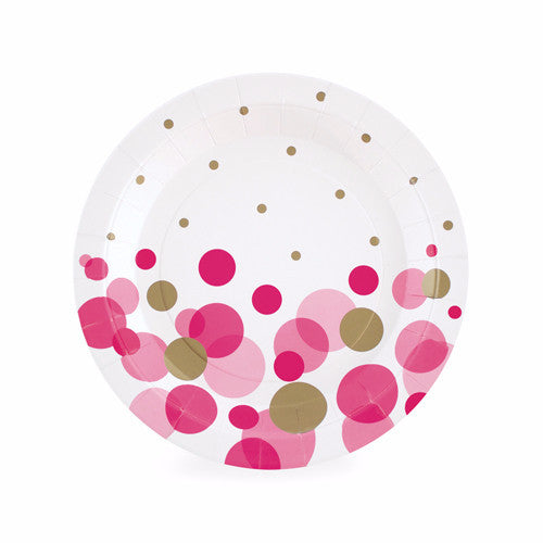 Dessert Plate Pink So Hot 12pcs - Paper Eskimo