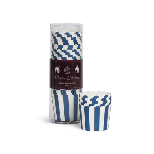 Baking Cups Navy Blue Stripes - Paper Eskimo