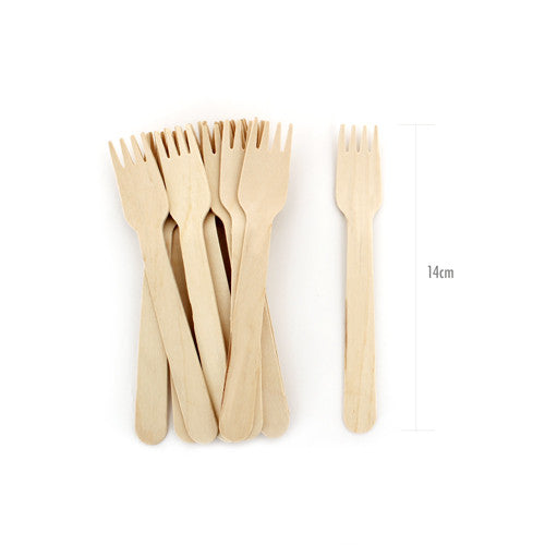 Wooden Cutlery Petite Forks 24pcs - Paper Eskimo